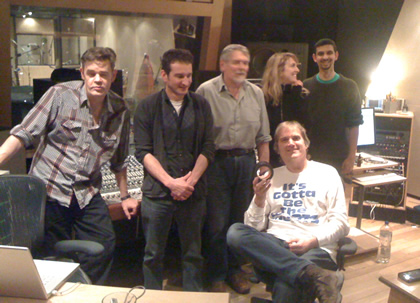 The CPs recording at Snap in north London, Nov 2011, with legendary producer/engineer John Wood (Fairport Convention, Nick Drake, Beth Orton, Squeeze)