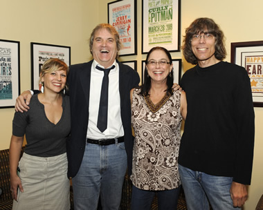 Ali Tonn of the Country Music Museum in Nashville, our hero, Danna Strong of the Americana Festival & Conference, and Rolling Stone's David Fricke backstage at Sid's career retrospective Sat Sept 11, 2010 at the Country Music Hall of Fame.