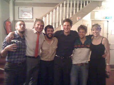 Sid G & Carly Frey with the brilliant Water Tower Bucket Boys at their co-headlining London gig, August 25, 2012