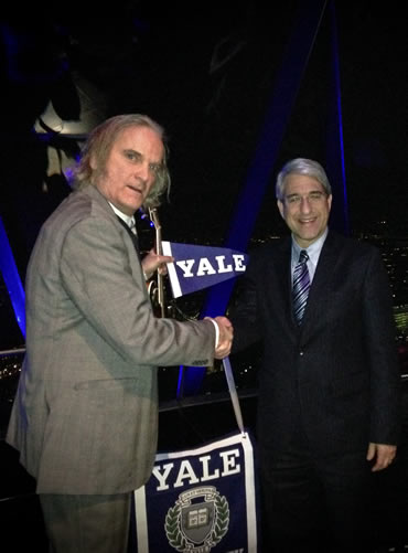 Sid shakes with 23rd President of Yale University Peter Salovey after the CPs play a Yale fundraiser at The Gherkin on January 20, 2014.