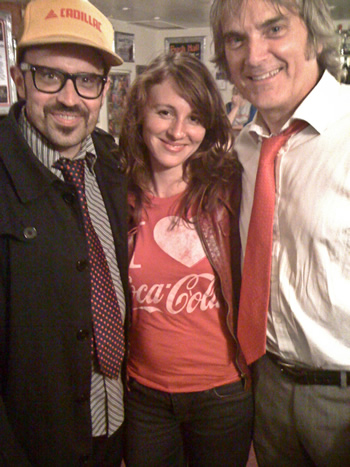 Robert Haeker Jessett & the totally cool Anne Gilpin of the great London band Morton Valence say hello to Sid backstage, August 2012