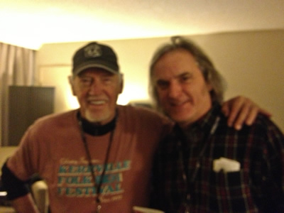 With actor/singer Ronnie Cox at Folk Alliance discussing James Dickey. Cox was the guitarist in Deliverance scene who played Dueling Banjos and was in the Beverly Hills Cop films with Eddie Murphy.