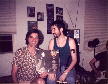 The late great Ronnie Lane signs a solo LP for mega-fan Sid Griffin of the Long Ryders, July 1986.