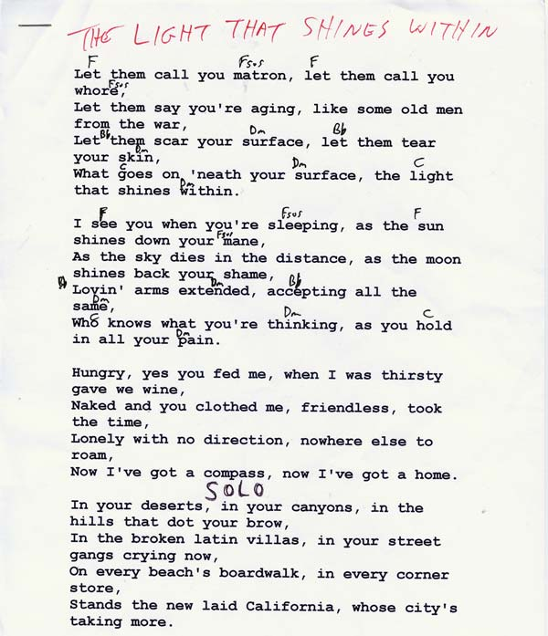 Lyrics of closing time