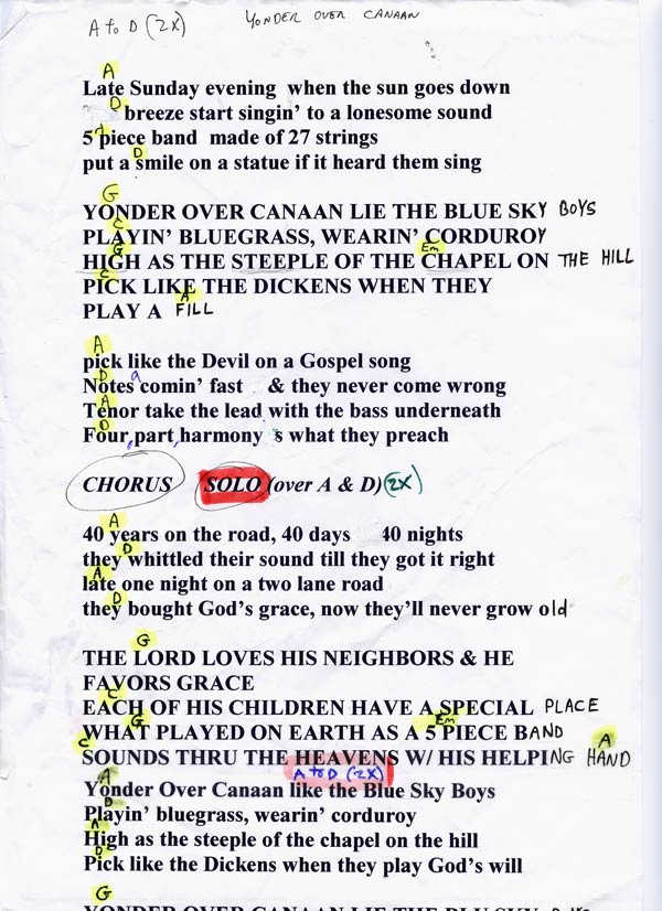 Lyric lyrics to down to the river : The Coal Porters Lyrics and Chords - Sid Griffin