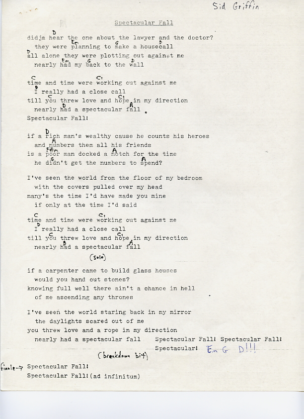 Long Ryders Lyrics and Chords - The Official Website of Sid Griffin