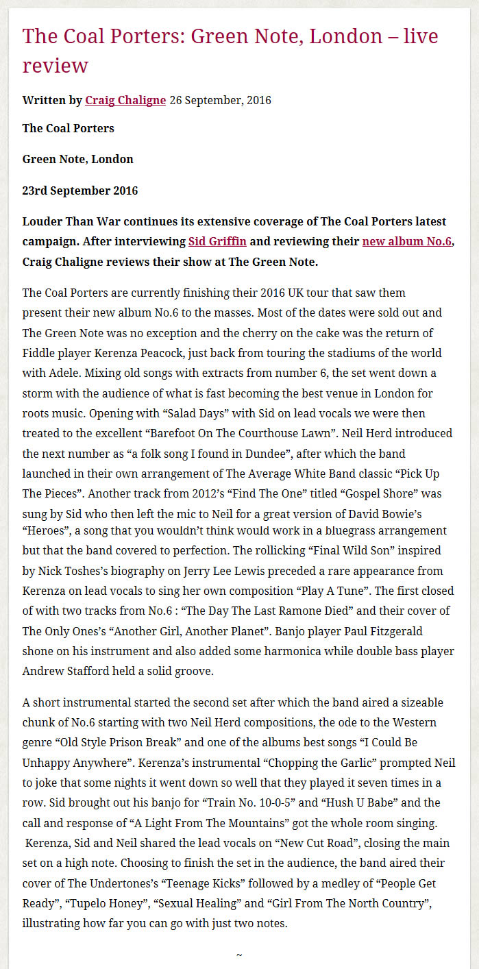The coal porters live reviews sid griffin the coal porters green note london review 2016 hexwebz Gallery