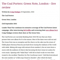 The Coal Porters - Green Note, London Review 2016