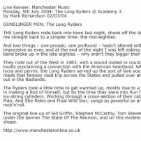 Live Review: Manchester Music Monday, 5th July 2004: The Long Ryders @ Academy 3 by Mark Richardson