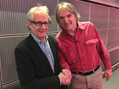 On Feb 13, 2017 the great British director and humanitarian Ken Loach greets Sid Griffin at BBC TV in London moments before they appear on a panel together.