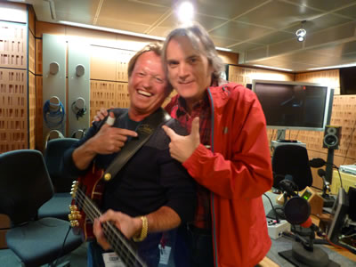 Level 42's ace face of bass Mark King at the BBC in London with Our Hero on May 8, 2014. They had not seen each other since a shared festival gig in 1986!
