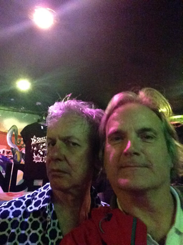 Fleshtones' lead singer Peter Zaremba poses for a selfie with a European fan, June 3, 2014.