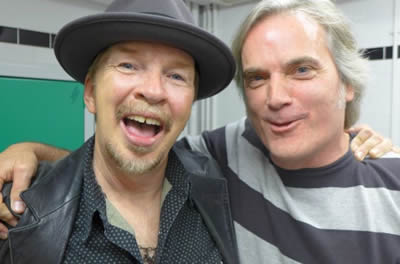 Dave Alvin, the John Fogerty of my generation, gets some songwriting tips backstage in London, Oct 24, 2014.