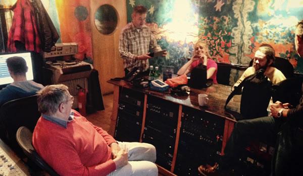 The Coal Porters recording, East London, Nov 2014. Legendary producer John Wood in orange jumper on left.