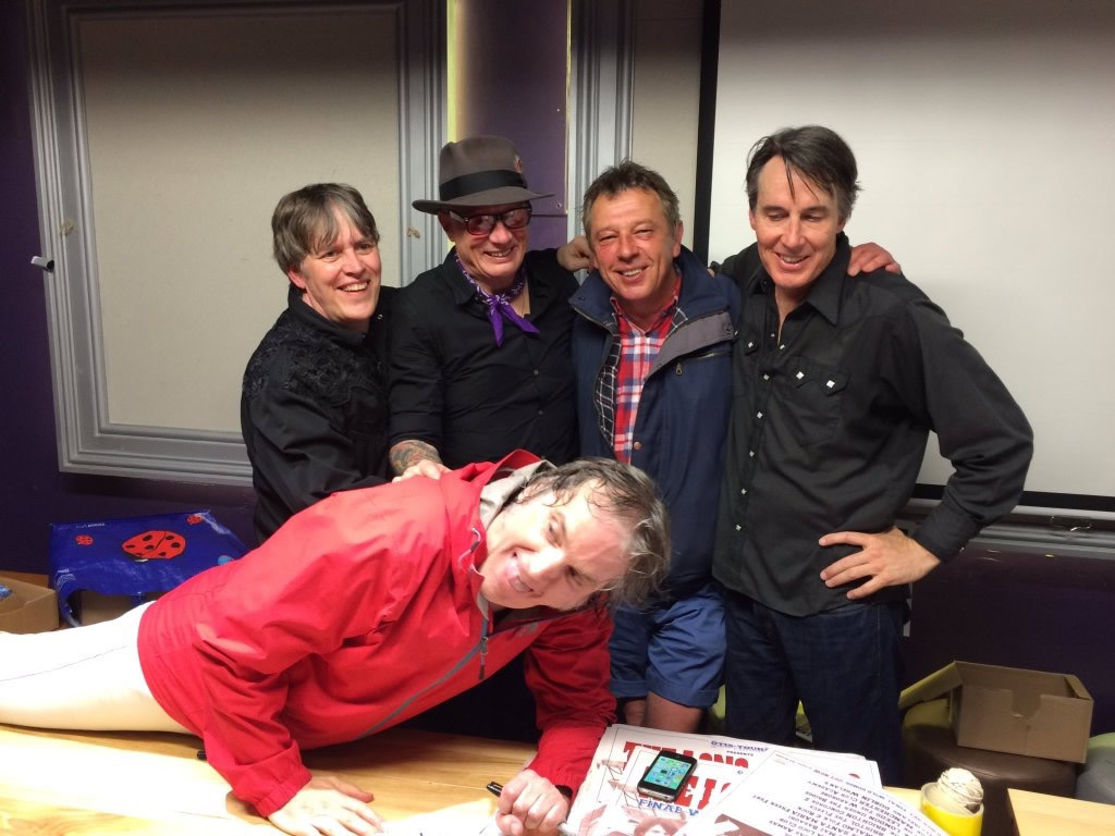 BBC broadcasting legend Andy Kershaw helps The Long Ryders celebrate Kentucky Derby Day, May 7, 2016 in Manchester at the Academy gig.