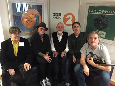 May 2, 2016. The Long Ryders, with BBC radio legend Bob Harris in centre, discuss 12 string guitars at Western House.