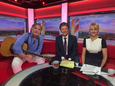 June 2016 sees Our Hero and his trusty Martin guitar explaining copyright law on BBC Breakfast TV going nationwide with hosts Charlie Stayt and Louise Minchin.
