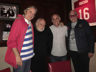 In Hollywood, April 27, 2017: Sid, famous producer Ed Stasium, noted rock manager John Silva and song publisher Greg Sowders dine out...John picked up the check!