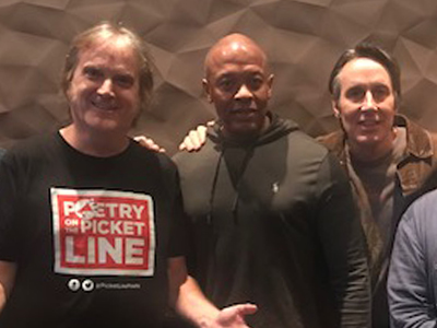 Working in the L.A. studio of Dr.. Dre, November 16, 2017. Dre has a fine modern studio. Stephen McCarthy were working in one room and Dre was doing deafening beats in the other.
